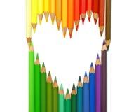 Coeur. crayons de couleur Photos libres de droits
