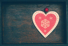 Coeur décoratif au jour de vacances d'hiver, de ` s de nouvelle année, de Noël et de Valentine Photo libre de droits