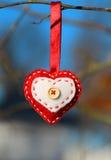 Coeur décoratif de photo sur une branche Image libre de droits