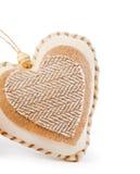 Coeur décoratif de tissu Images libres de droits