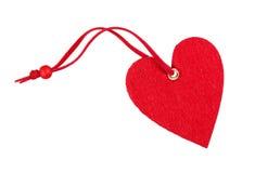 Coeur décoratif rouge de tissu d'isolement Photo stock