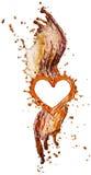 Coeur d'éclaboussure de kola avec des bulles d'isolement sur le blanc Photo libre de droits