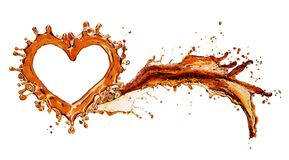 Coeur d'éclaboussure de kola avec des bulles d'isolement sur le blanc Image stock