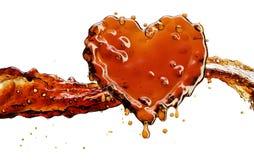 Coeur d'éclaboussure de kola avec des bulles d'isolement sur le blanc Image libre de droits