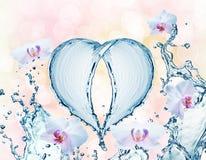 Coeur d'éclaboussure de l'eau avec des bulles Photographie stock libre de droits