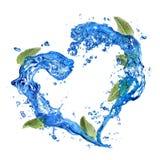 Coeur d'éclaboussure de l'eau avec la menthe de vert d'isolement sur le blanc Images stock