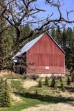 Coeur d `的Alene,爱达荷明亮的红色谷仓 免版税图库摄影