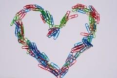 Coeur d'agrafe de bureau Photo libre de droits