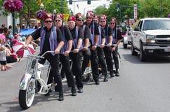 COEUR D ALENE, IDAHO 6-4-2014: 4th of July Parade in downtown Coeur d' Alene; Women dance troop stock photo