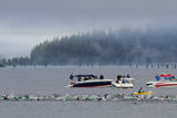Coeur d' Alene Ironman swimming event Stock Photos