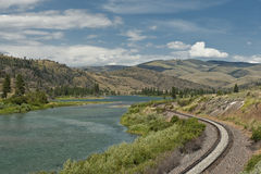 Coeur D'Alene River. Railroad tracks running parallel to the Coeur D'Alene river in Montana Royalty Free Stock Images