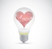 Coeur d'amour à l'intérieur d'une conception d'illustration d'ampoule illustration de vecteur