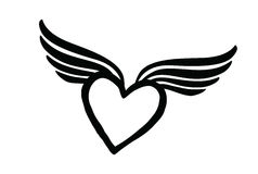 Coeur d'amour avec des ailes Icône de Saint Valentin Signe perdu d'amour Photographie stock libre de droits