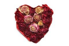 Coeur d'amour avec les bourgeons roses secs, fond blanc Images libres de droits