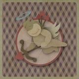 Coeur d'amour d'arc de pousse de cupidon sur le fond de vintage, papier réutilisé Photo stock