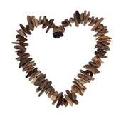 Coeur d'amour de bois de flottage Images stock