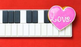 Coeur d'amour de clavier de musique d'ordinateur Images stock