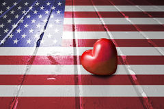 Coeur d'amour de drapeau américain Photographie stock