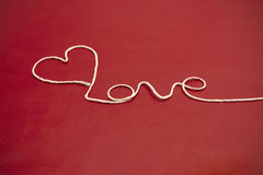 Coeur d'amour de fil de ficelle Image libre de droits