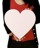 Coeur d'amour de fixation de femme Images libres de droits