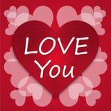 Coeur d'amour de fond de lettre de vintage de jour de valentines Photos libres de droits