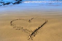 Coeur d'amour de plage Images libres de droits