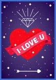 Coeur d'amour en affiche de l'espace Images stock