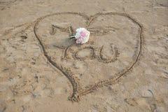 Coeur d'amour et boquet de mariage Image stock