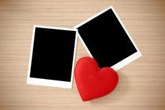 Coeur d'amour et cadre de photo Images libres de droits
