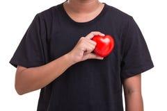Coeur d'amour et concept de soins de santé : Femme tenant le coeur rouge sur h Photos stock