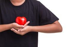 Coeur d'amour et concept de soins de santé : Femme tenant le coeur rouge sur h Image stock