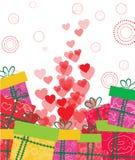 coeur d'amour et fond de cadeaux Photo libre de droits