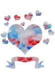 Coeur d'aquarelle de vecteur Images libres de droits