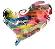 Coeur d'aquarelle et taches cireuses Photo libre de droits