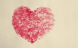 Coeur d'aquarelle, vieille carte postale stylisée Photographie stock