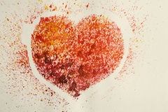 Coeur d'aquarelle, vieille carte postale stylisée Image stock