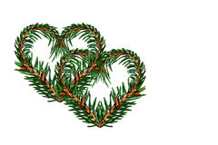 Coeur d'arbre de brindilles sur le fond blanc d'isolement Jour du `s de Valentine Photographie stock