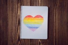 Coeur d'arc-en-ciel de dessin Photos libres de droits
