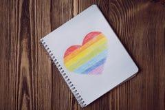 Coeur d'arc-en-ciel de dessin Image stock
