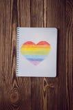 Coeur d'arc-en-ciel de dessin Photographie stock libre de droits