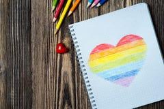Coeur d'arc-en-ciel de dessin Photographie stock