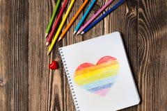 Coeur d'arc-en-ciel de dessin Photo stock