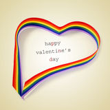 Coeur d'arc-en-ciel et jour de valentines heureux des textes, avec un rétro effet Photographie stock libre de droits
