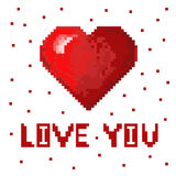Coeur d'art de pixel Photos libres de droits