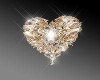 Coeur d'or d'amour de bijou Images stock