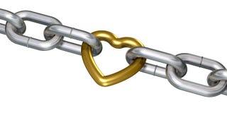 Coeur d'or dans les réseaux illustration de vecteur