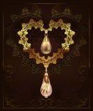 Coeur d'or de décor avec des diamants de cailloux de bijoux sur un fond floral avec l'ornement d'art déco illustration de vecteur