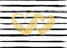 Coeur d'or de valentine de confettis Images stock