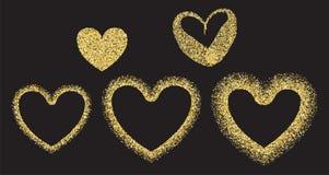 Coeur d'or de valentine de confettis Photographie stock