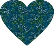Coeur d'enveloppe de courrier Image stock